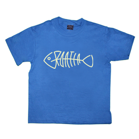 Croatia Fishbone unisex screen printed childs blue cotton t shirt