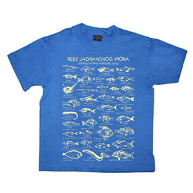 Fishes of the Adriatic Sea blue cotton unisex child t shirt